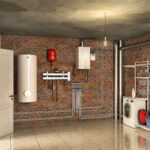 Boiler system and laundry in a basement interior, 3d illustration