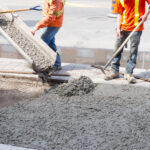 Pouring cement durung Upgrade to residential street