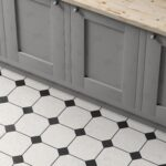 Kitchen cabinet on white and black ceramic tiles floor background, view from above. 3d illustration