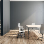 Black concrete office interior with panoramic New York city view and daylight. 3D Rendering